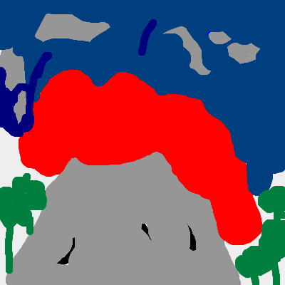 A volcano while its erupting. (before damage is done)